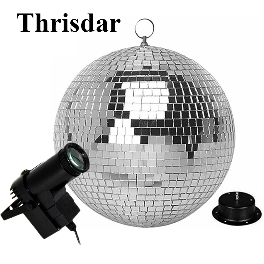 Thrisdar D20CM 25CM 30CM Rotating Reflection Glass Mirror Disco Ball With Motor and RGB beam Pinspot DJ Home Party Stage Light colorfull light mirror reflection glass ball stage festival hanging ball motor 10inch 19cm