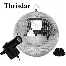 Thrisdar D20CM 25CM 30CM Rotating Reflection Glass Mirror Disco Ball With Motor and RGB beam Pinspot DJ Home Party Stage Light(China)