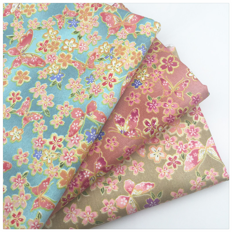 Butterfly print 100 twill cotton fabric by meter for baby for Cotton sewing material