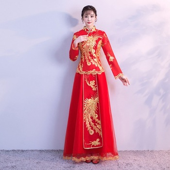 Chinese Women Cheongsam Red Traditional Chinese Overseas Wedding Dress Phoenix Vintage Marriage Suit Sequins Qipao XS-XXXL