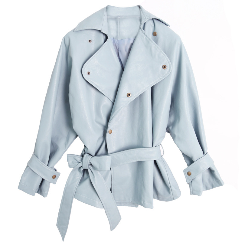 Elegance Fashion New Women's Loose Washed Pu   Leather   Jacket Fashion Sashes Design Bright Colors Coats New Ladies Basic Jackets