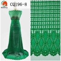 5 yards CQ196 Chất Lượng Cao Phụ Nữ Đa Màu Sắc Châu Phi Ăn Mặc Ren Hóa Học Cotton Dây Vải Thêu cho Bên Wedding