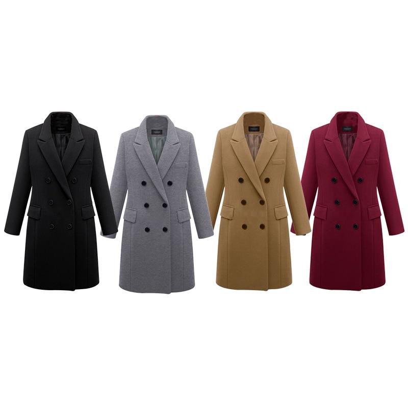 2016 European Women Autumn Winter Coat High Quality Woolen Coat Solid Color Elegant Casual Wool Big Yards Coat Plus Size 5XL (1)
