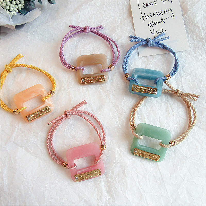 Japan Beautiful Colorful Headdress Geometric Round Square Acrylic Rubber Band Hair Rope Girl Women 39 s Ponytail Hair Accessories in Women 39 s Hair Accessories from Apparel Accessories