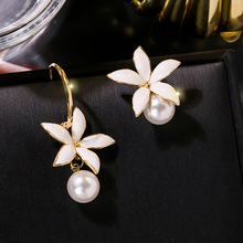 Top Design White Imitation Pearl Flower Earrings For Women 2019 New Handmade AB Fashion Jewelry
