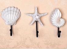Европейский стиль творческий стены крюк морская звезда shell дизайн домашний декор стены вешалка смолы пальто крюк ключ крюк старинные железный крюк