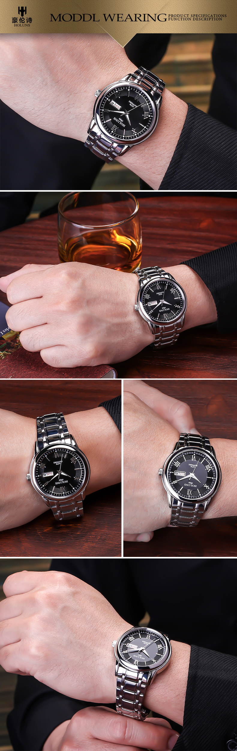 HTB1v5bHck9E3KVjSZFGq6A19XXae HOLUNS relogio masculino full stainless steel men automatic watch top brand luxury 5ATM waterproof Super luminous dropshipping