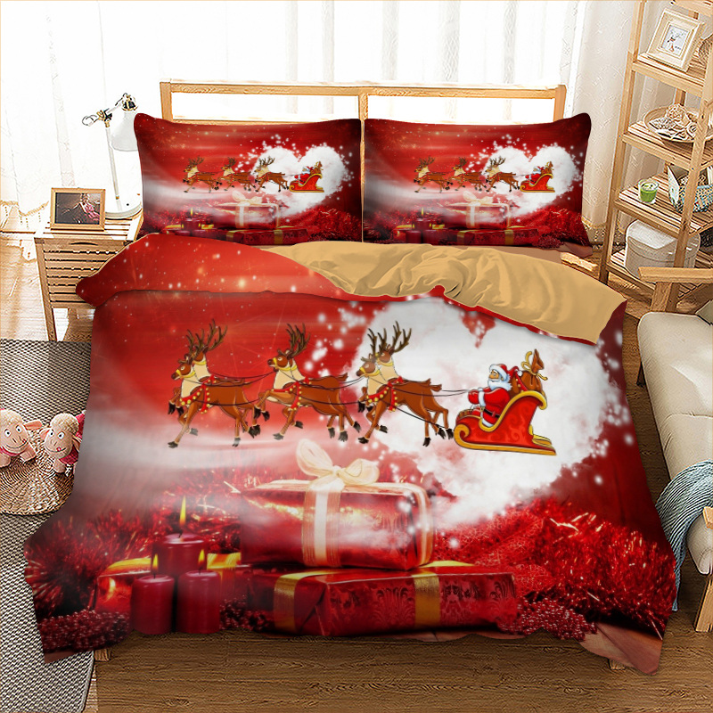 Xmas Bedding Set Single Double Queen King Twin Full Queen King Size Gift From Santa Claus Bed Linen Set Merry Christmas 3pcs