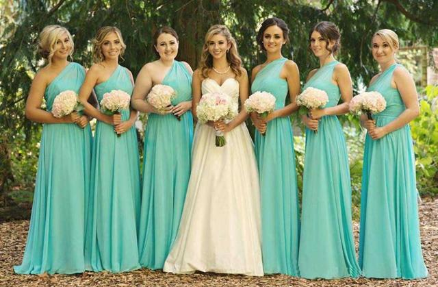One Shoulder Chiffon Ruffle Turquoise Blue Bridesmaids Dresses Floor Length Long Simple Elegant Vestido Azul Turquesa,BD080