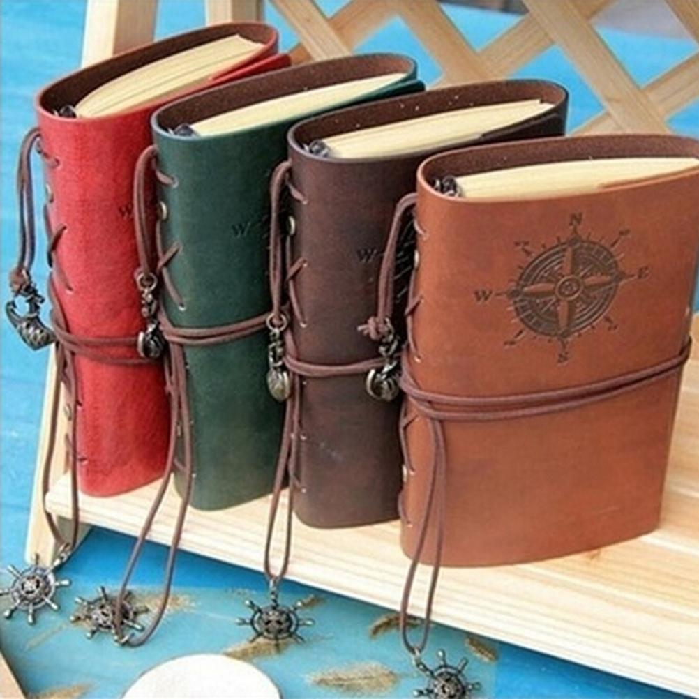 Vintage Diary Notebook Pirate Anchor Decor Traveler's Note Books Notepad Planner 2017 PU Leather Cover Blank Notebooks 3 Colors maritime travel log classic vintage retro classic pu leather blank pages copper plated sea anchor and straps sketchbook notebook