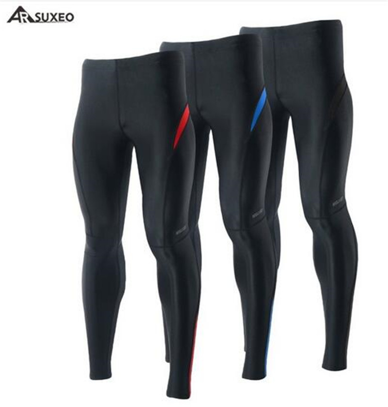 ARSUXEO Sport Mens Tights Running Compression Elastic Pants Tights Run Fitness Workout GYM Reflective Pants