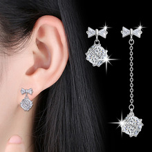 100% 925 sterling silver fashion cz zircon bowknot star ladies`stud earrings women jewelry female gift drop shipping cheap цена