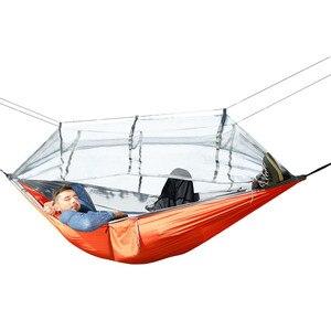 Image 2 - Paraşüt naylon kumaş çift Hamak örgü çadır geri dönüşümlü böcek sivrisinek ücretsiz Hamak salıncak Hamac asılı yatak dış mekan mobilyası