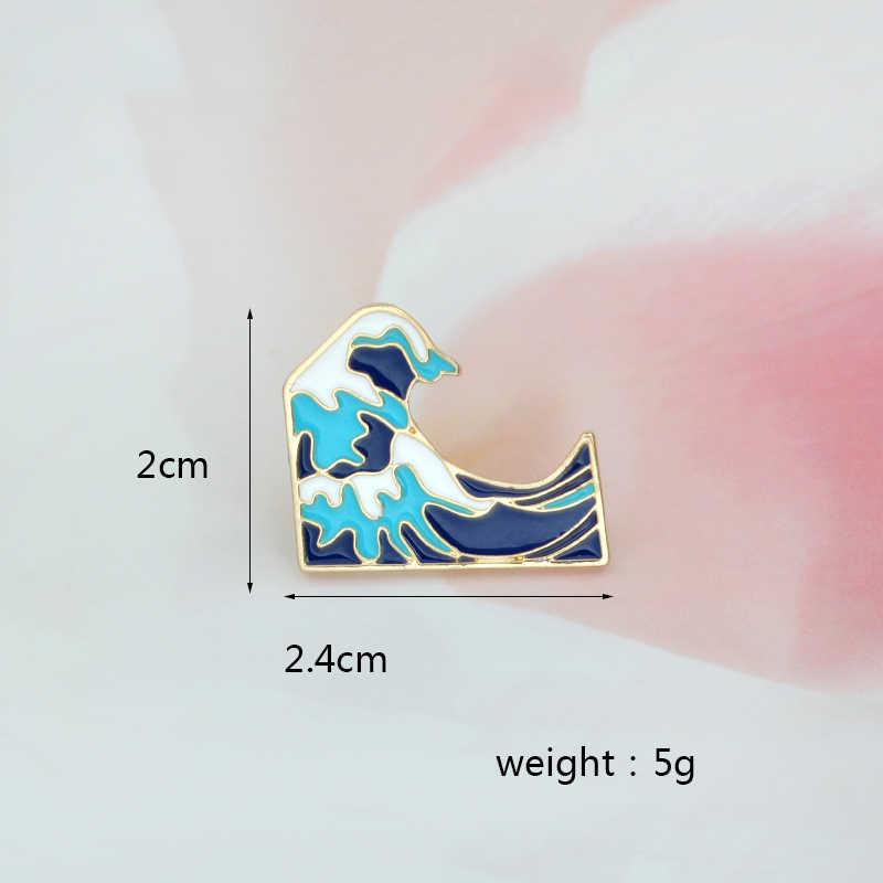 Biru Laut Gelombang Bros Kerah Laut Mantel Tas Ransel Jaket Pin Kartun Perhiasan Hadiah untuk Anak-anak Anak-anak Souvenir