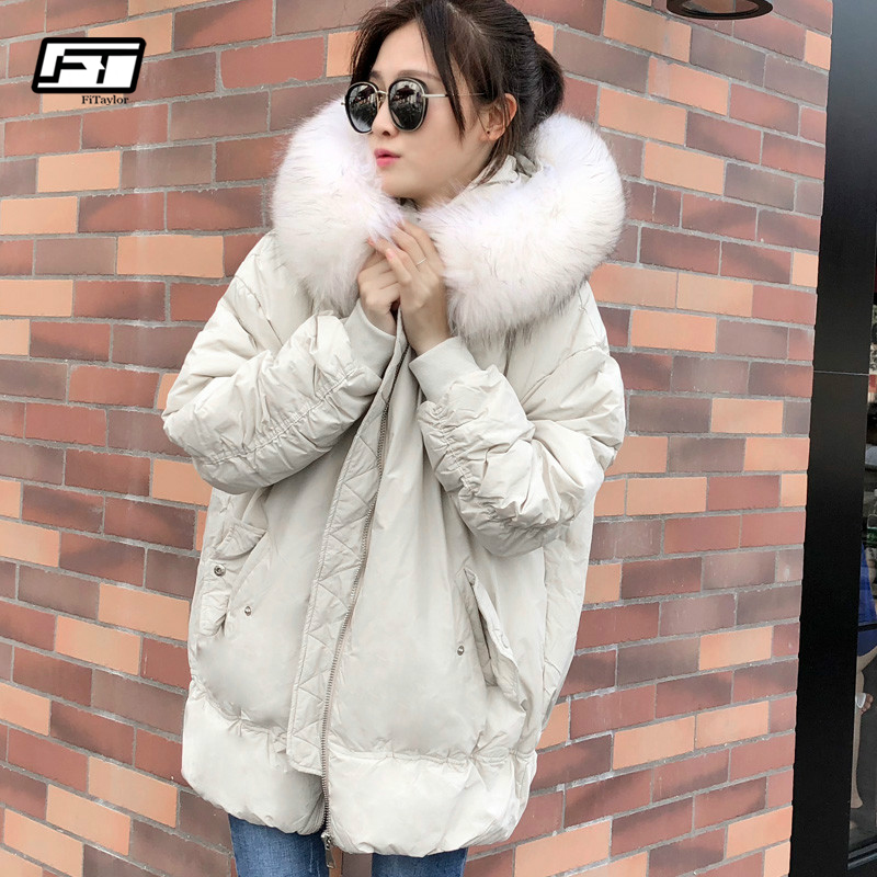 Fitaylor Women Winter Real Raccoon Fur Jacket Warm   Coat   White Duck   Down   Hooded Parkas Windproof Warm Loose Female Snow Outerwear
