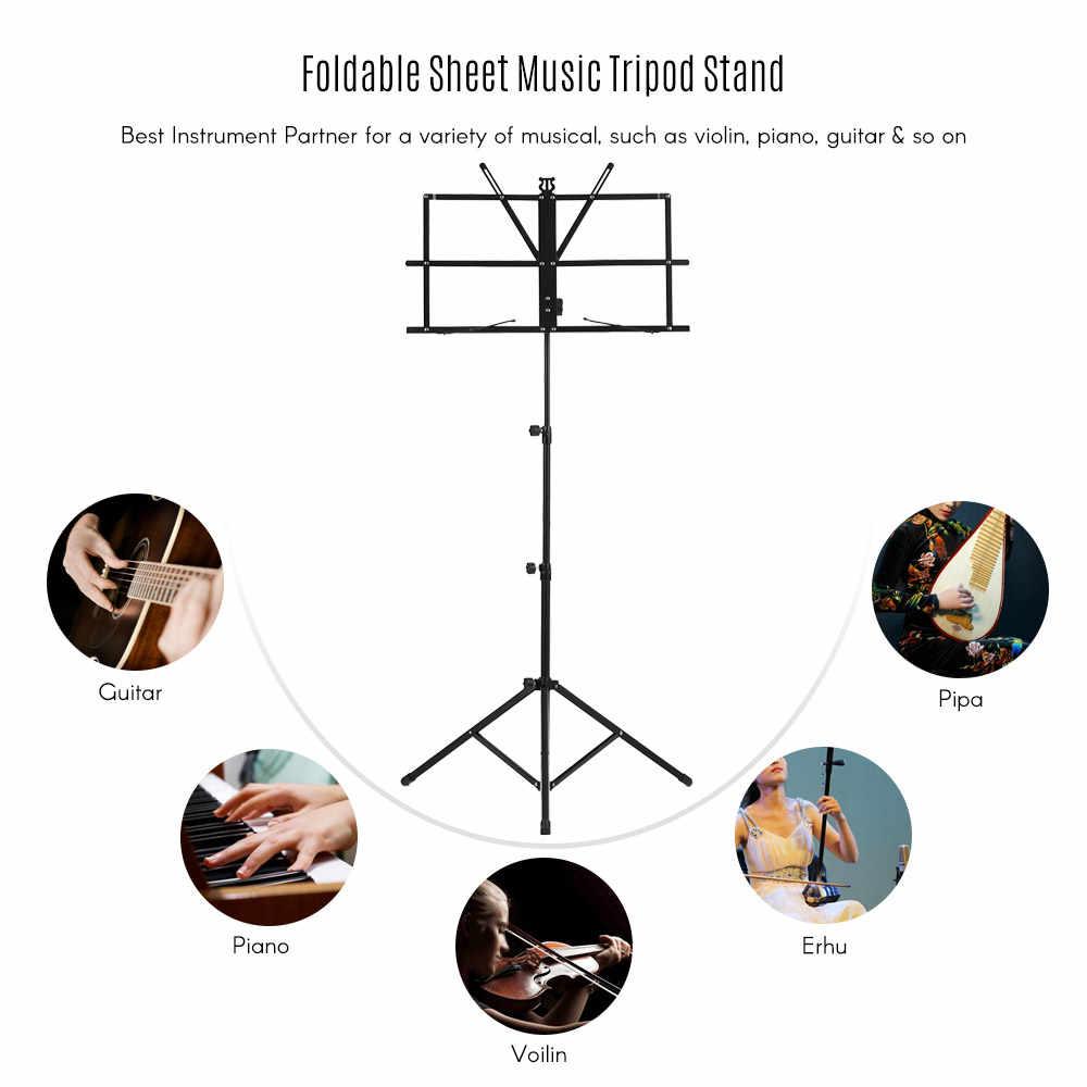 ورقة قابلة للطي الموسيقى حامل ثلاثي القوائم حامل خفيفة الوزن مع حقيبة حمل مقاومة للماء لأداة الغيتار البيانو الكمان