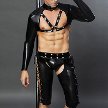 Mens sexy Faux Leather T shirts Sets Male latex DJ Club Wear black Wet Look Tees and Shorts Gay Funny corset Dancewear lingerie