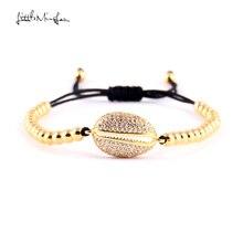 WML 4mm copper bead men bracelet Luxury pave CZ Shell Charm Braided Macrame bracelets & bangles For Women jewelry