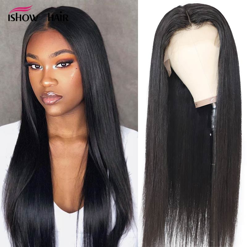 13x4 Straight Lace Front Wig Pre Plucked Lace Front Human Hair Wigs For Black Women Remy 150% Ishow Brazilian Straight Hair Wig