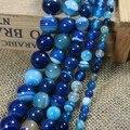 """Comercio al por mayor 4 6 8 10 12mm Liso azul Estriados Ágata Ronda Tam 15.5 """"Envío Shipping-F00064"""