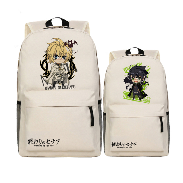 Harajuku Anime Seraph of the end Yuichiro Hyakuya Printing Backpack Canvas  School Bags Cosplay Backpacks for Teenage girls 78719140d7056