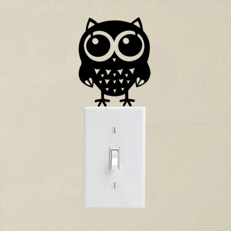 Cartoon Little Bird And Owl Switch/Wall Sticker Decals Lovely Decoration Removable Vinyl Kids Rooms Decorative Stickers