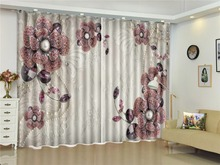 Wholesale Custom Curtain , Red Diamonds Diagonal Beautiful Flowers 3D Curtains, Curtains That You Like