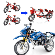 Technic Creator Series Sets Motorbike & Folding Bicycles 2in1 transformable Blocks Building Toys For Children Gifts