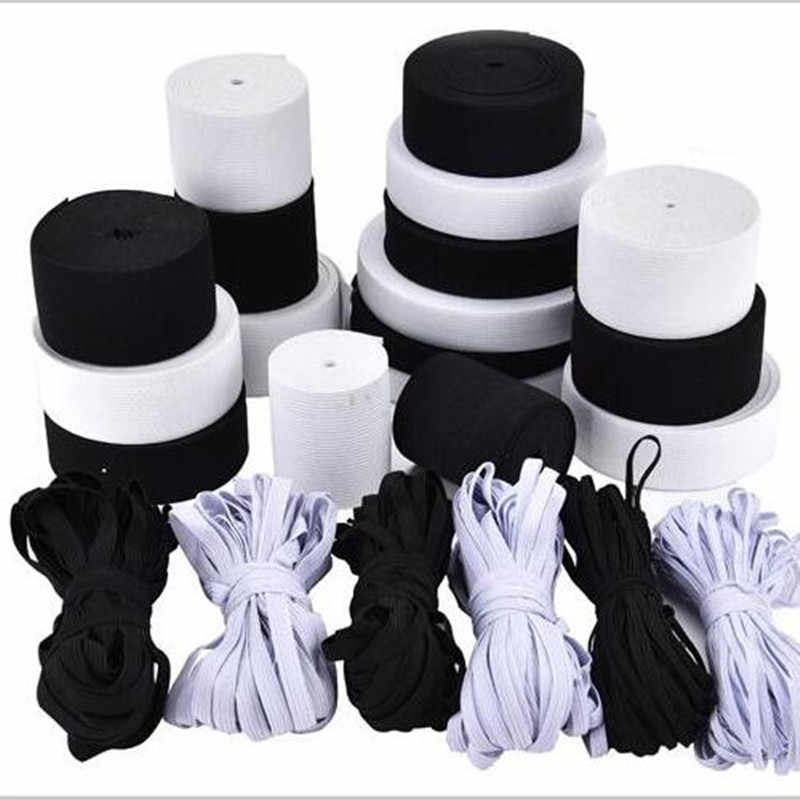 5 Meters 1-6CM Width White/Black Nylon Webbing Highest Elastic Bands  Sewing for Clothes Garment Underwear Clothing Accessories