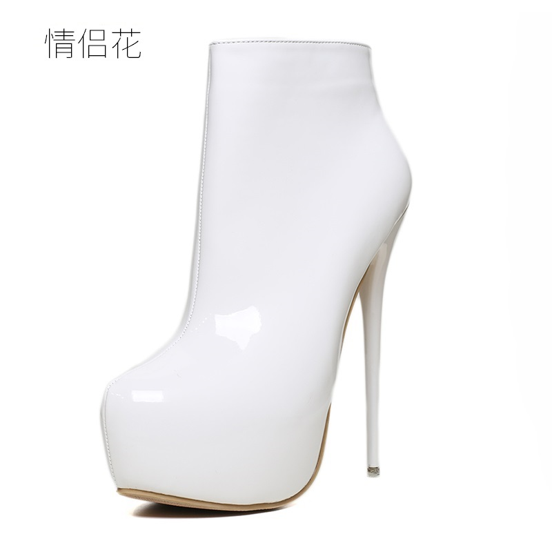 Plus Size 41-47 2018 White Patent Leather High Platform Heel Ankle Boots for Women Genuine Leather Ladies Shoes Woman Girl Black women round toe ankle boots woman fashion platform wedge botas ladies brand suede leather high heel shoes footwear size 34 47