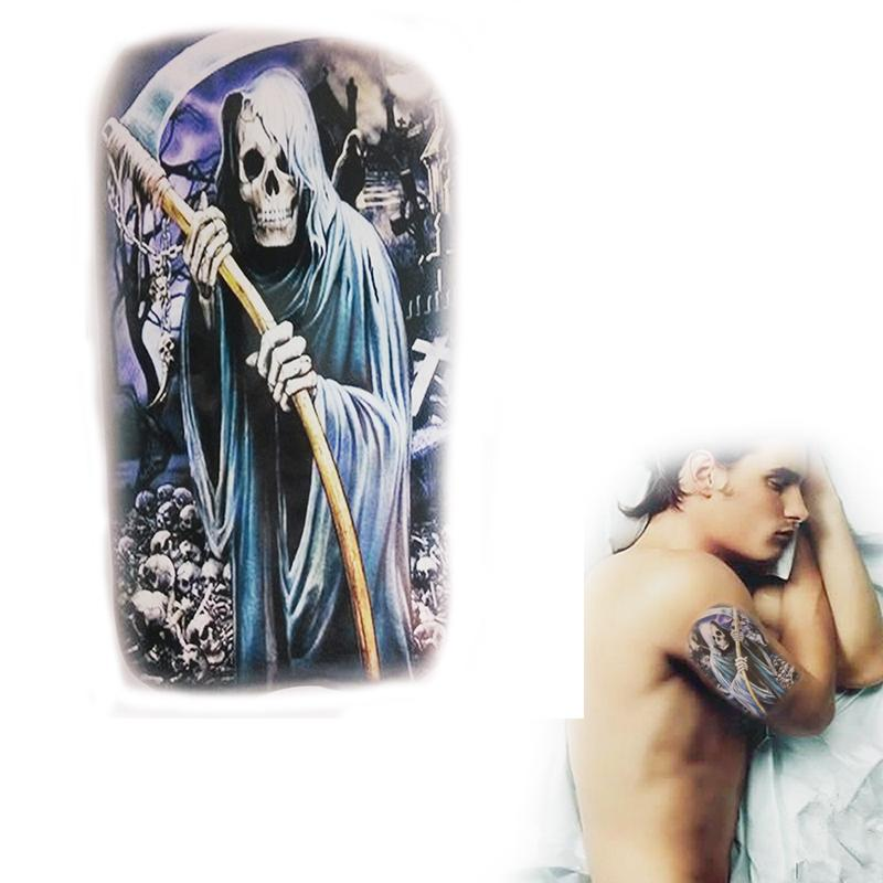 Cool grim reaper fake tattoo water transfer sticker death for How to get fake tattoos off