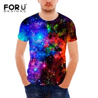 FORUDESIGNS T Shirt Men Tops Short Sleeve Universe Galaxy Space 3D T Shirt Funny Tops Tee