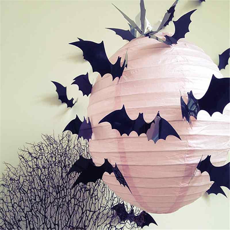 12pcsset 2016 fashion decoration cartoon plastic removable 3d bats wall decor sticker waterproof halloween festival - Halloween Wall Decoration