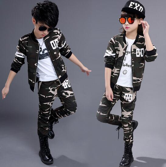 Children girls clothing set 2017 autumn teenage boys sport suit camouflage 2pcs school kids clothes tracksuit Boys clothes