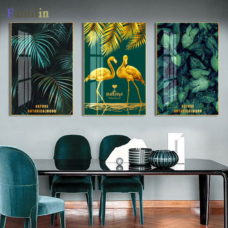 Green And Gold Pineapple Monstera Plant Painting Large Leaf Poster Print Wall Art For Living Room Aisle Unique Modern Decoration