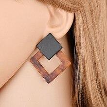 Fashion Leopard Print Multi-Color Acrylic Acetic Acid Stud Earrings for Women Girl Personality Simple Geometric Pendant