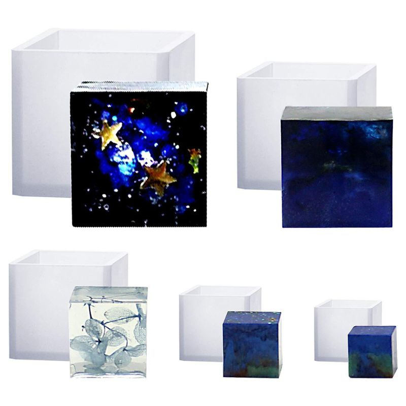 6Pcs Square Resin Mold Cube Silicone Molds Resin Casting Jewelry Making 6 Sizes