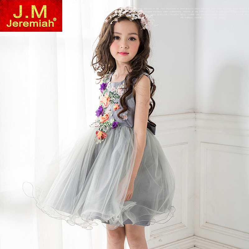 JEREMIAH Kids Girl Prom Evening Gowns Kids Wedding Birthday Party Dresses Gray Flower Girls Dress Tutu Dress For 4~9 Year girls party wear tulle tutu dress kids elegant ceremonies wedding birthday dresses teenagers prom gowns flower girl dress