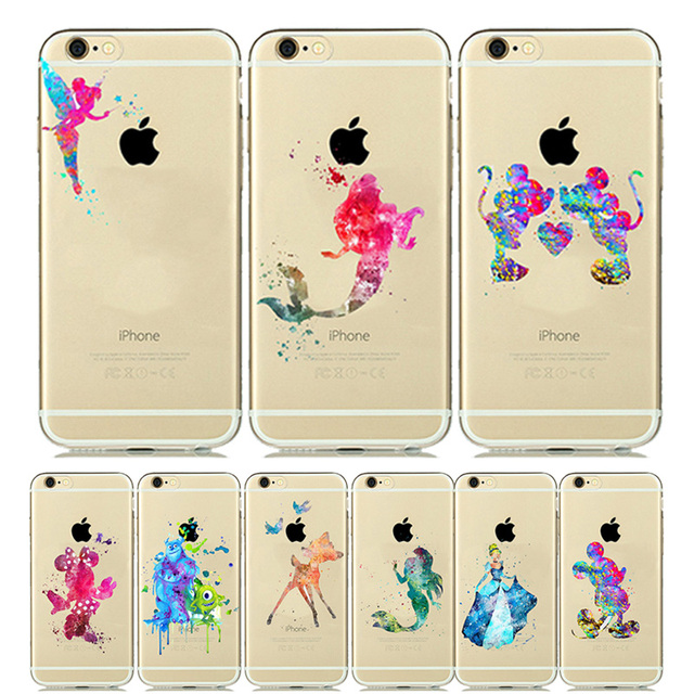 new product c9591 8bc4f US $1.28 15% OFF|for iPhone 6s Case Mickey Minnie Mouse CLEAR Silicone  Cover for iPhone 8 Case Snow White Ariel Mermaid for iPhone6 7 5s SE  Plus-in ...
