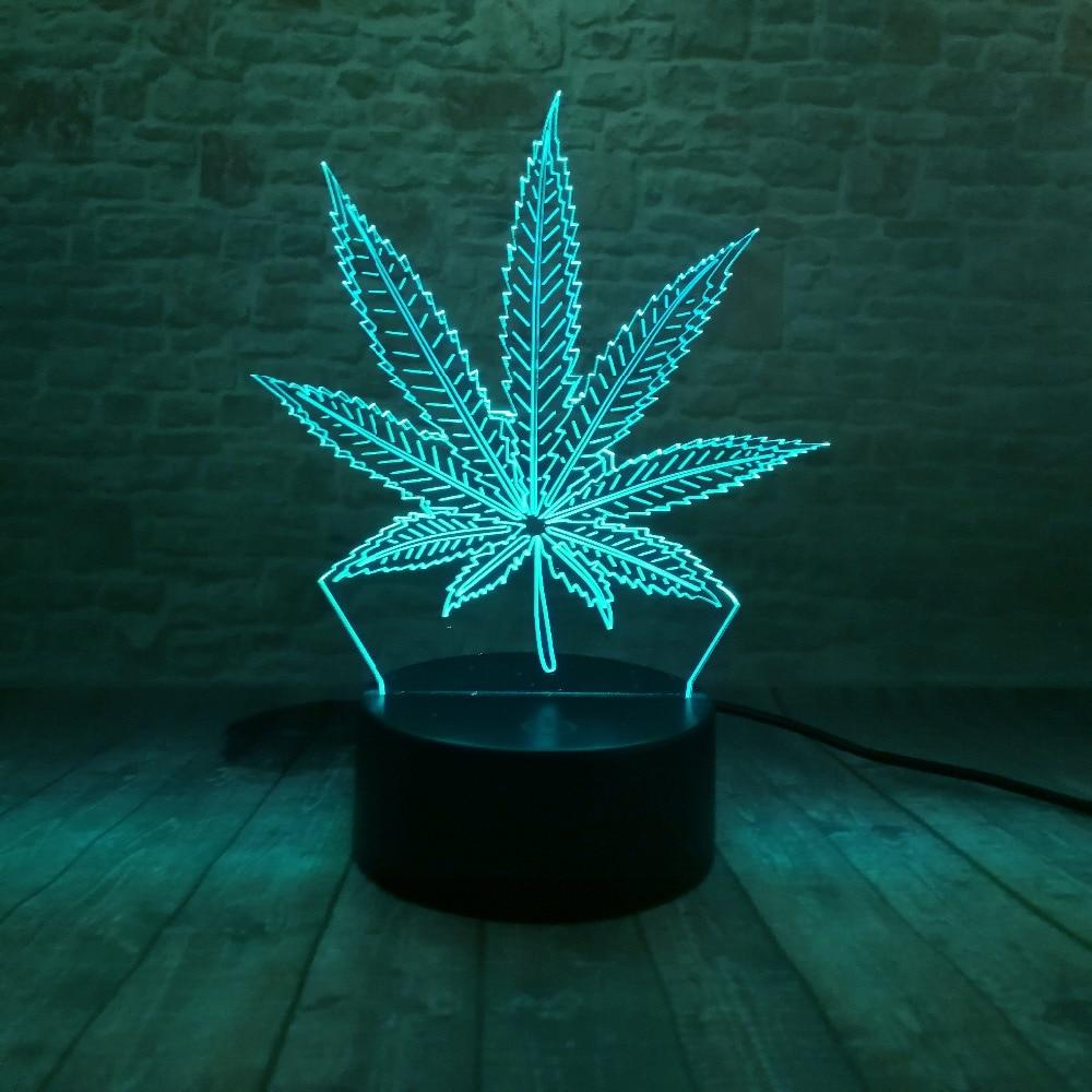 Piękna lampa LED Illusion 3D z lampką nocną w kształcie liścia - Lampki nocne - Zdjęcie 6