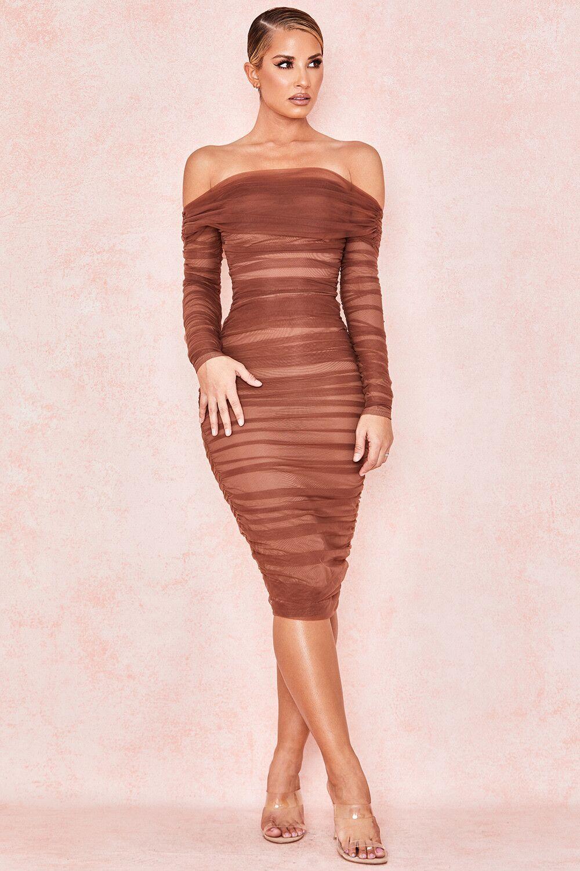 Couleur marron femmes à manches longues Voile Slash cou Sexy moulante Mini robe Club nuit robe de haute qualité