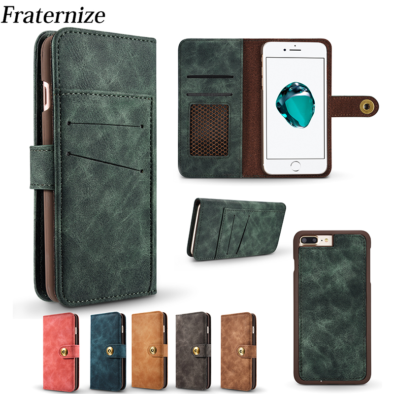 Luxury Retro Business Leather Wallet Case For iPhone 7 7 Plus 2 in 1 Magnet Back Cover For iPhone 6 6S Plus 5 5S Phone Cases Bag