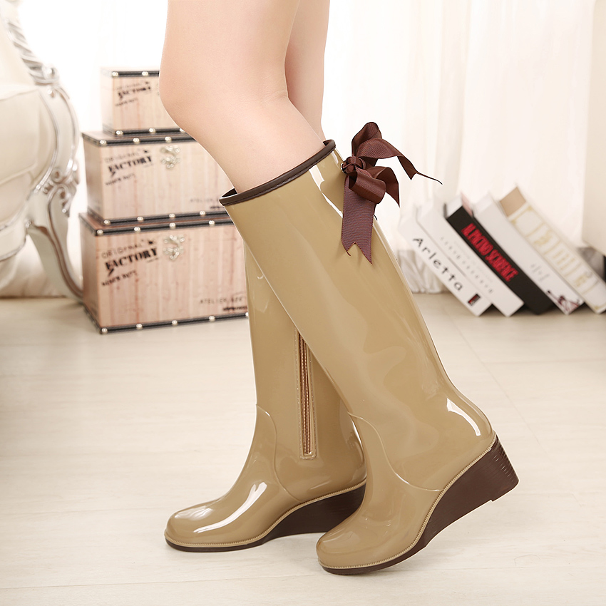 12a33c675055 2015 fashion wedge heel high women s rain boots tall zipper bow fashion  rainboots water shoes rubber boots ladies stivali donna-in Knee-High Boots  from ...