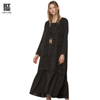 Outline Women Loose Dot Vintage Dress Autumn Black Jacquard Pullover Pleated Patchwork Long Chiffon Hem Plus Vestidos L173Y015