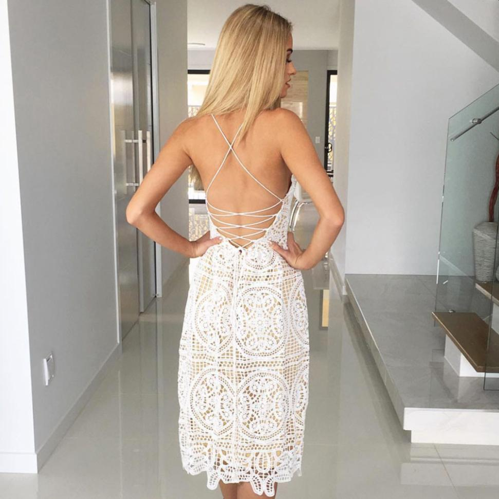 Sexy Party Dress Women Summer Deep V Neck Backless Lace Dresses Fashion Sleeveless Halter Bandage Midi Dress #BF