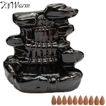 1pc Black Water Falls Design Ceramic Backflow Tower Incense Burner Clay Incense Burner 10Pcs Cones Home Office Decor Crafts Gift