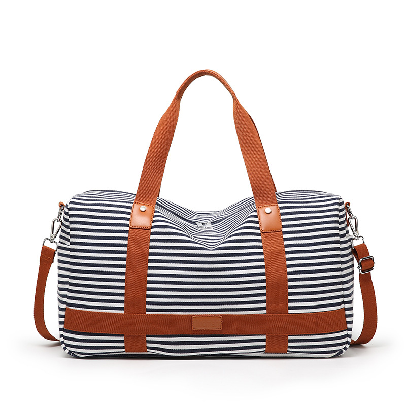Women Canvas Travel Weekender Overnight Carry-On Shoulder Duffel Tote Bag With PU Leather Strap