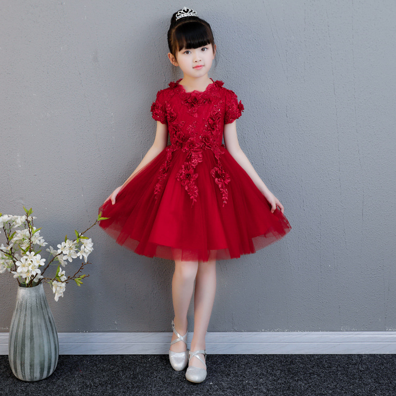 Cute Princess Girls Dresses Kids Birthday Party Gowns Short Sleeve Flower Girl Dress Toddler Kids Baby Girls Lace Dress AA273 2018 lovely baby infant toddler little girls birthday dress long sleeve lace tulle flower girl dress tutu ball gowns