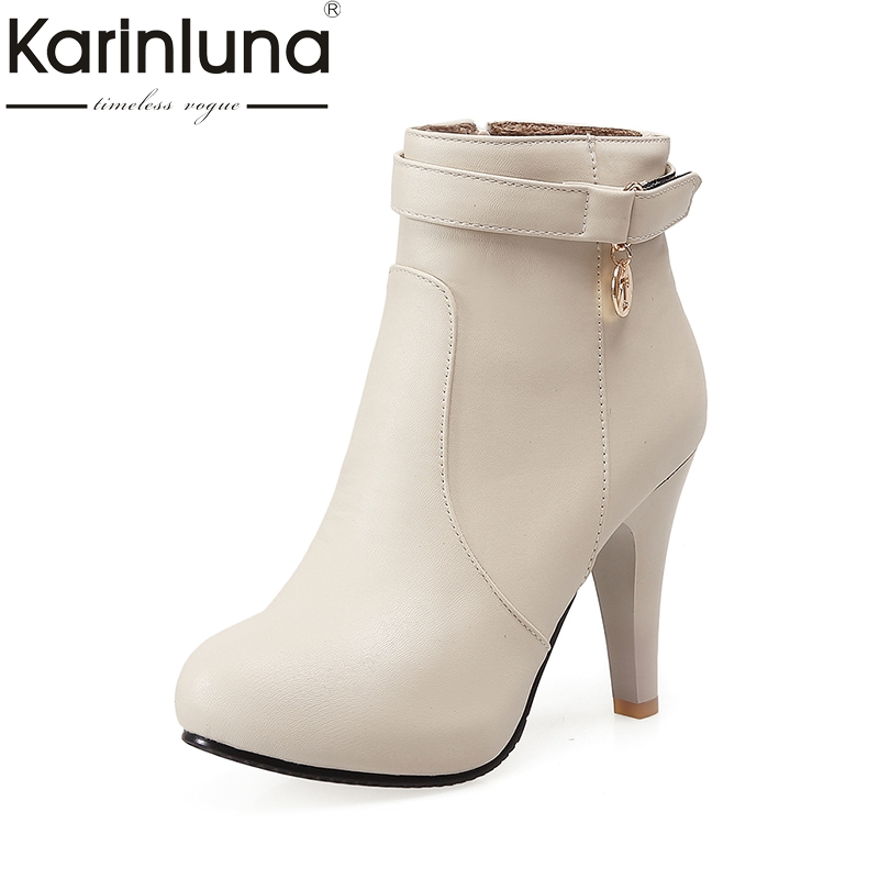 KARINLUNA 2018 Large Size 31-44 Metal Decoration Platform Women Shoes Fashion Spike High Heel Zip Up Ankle Boots Autumn Winter