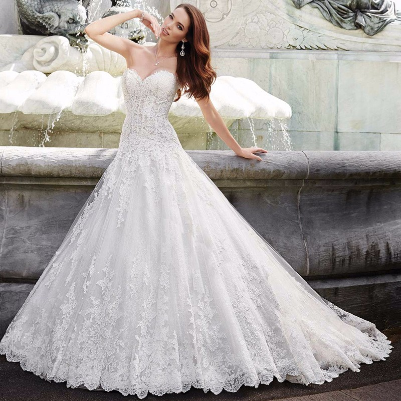 2017 New Hot Wedding Dresses Tulle A Line Sweetheart
